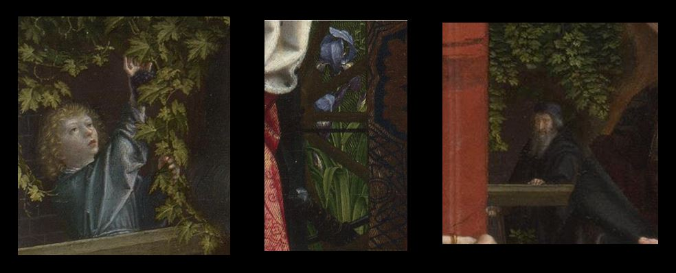 1510 ca Gerard_David_-_The_Virgin_and_Child_with_Saints_and_Donor_-National Gallery details