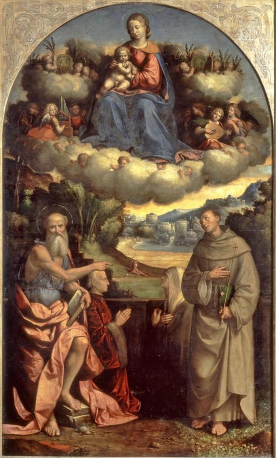 1514 Garofalo madonna-delle-nuvole Santi Girolamo, Francesco d'Assisi e due devoti della famiglia Suxena Pinacoteca Nazionale Ferrare