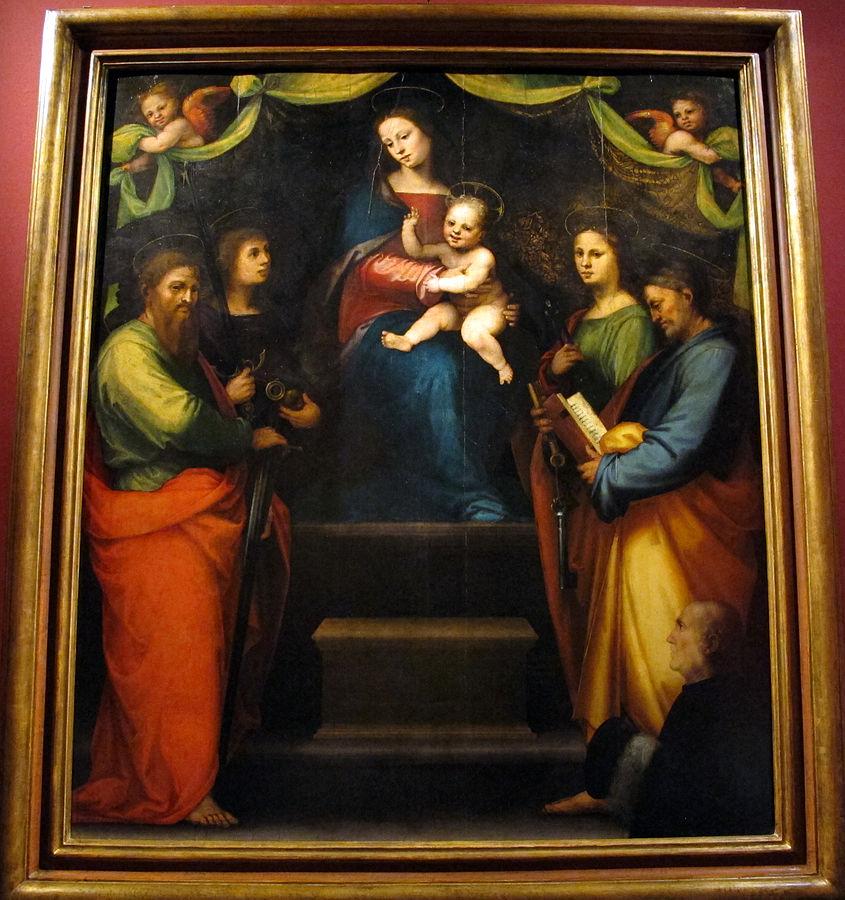 1514 Mariotto_albertinelli,_madonna_col_bambino,_santi_e_donatore s._michele_a_volognano