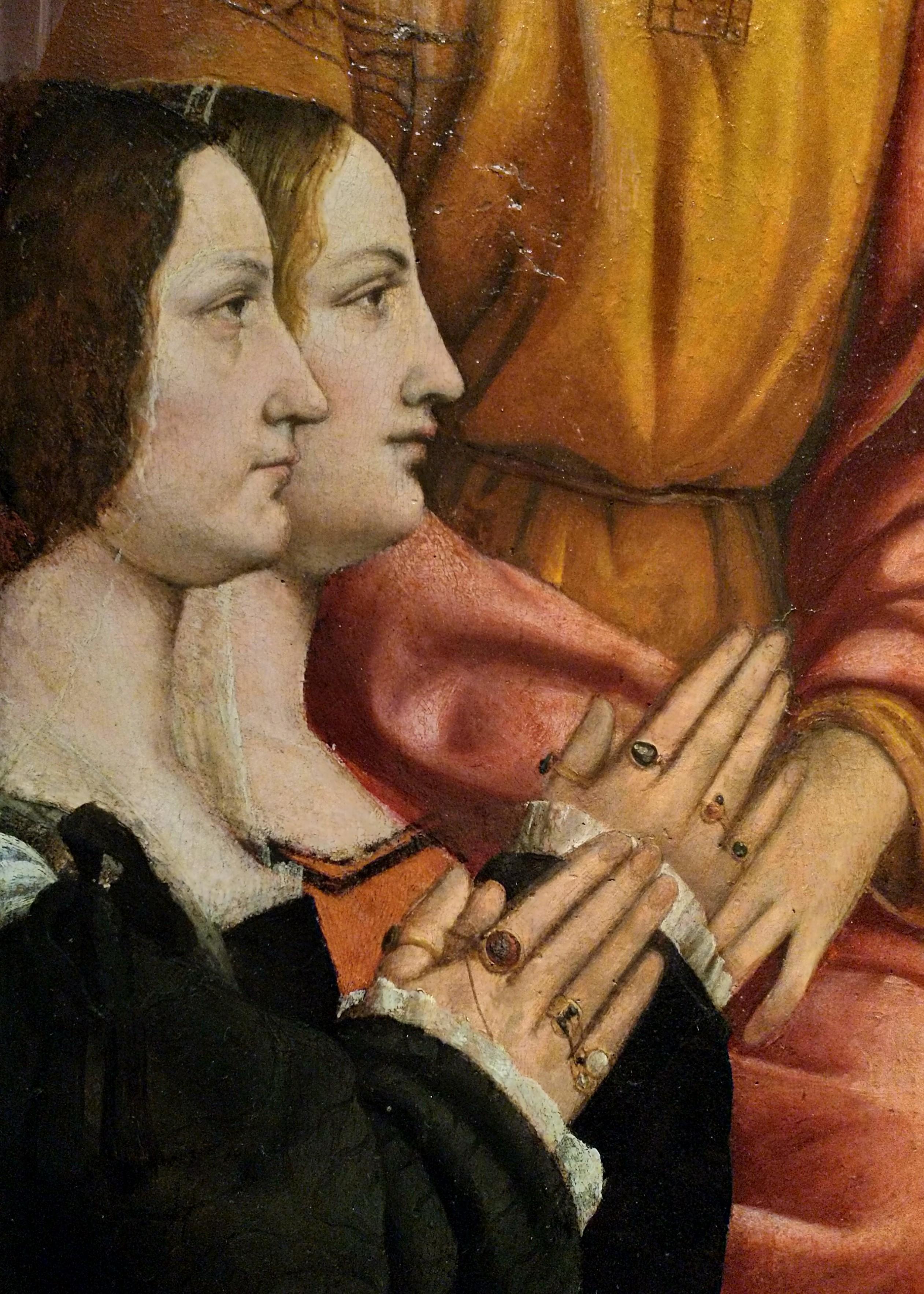 1515-1518 Zenale-Pala-Busti Brera Milan Antonio Busti St. Jacques and St. Philip detail1