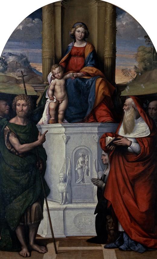 1517 Garofalo Madonna del Pilastro Garofalo giovanni-battista-gerolamo-francesco-di-assisi-san-antonio-donor Ludovica Trotti