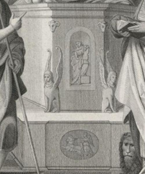 1517 Garofalo Madonna del Pilastro Garofalo giovanni-battista-gerolamo-francesco-di-assisi-san-antonio-donor Ludovica Trotti detail gravure