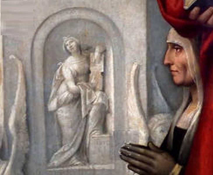 1517 Garofalo Madonna del Pilastro Garofalo giovanni-battista-gerolamo-francesco-di-assisi-san-antonio-donor Ludovica Trotti detail
