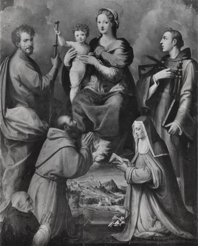 1520-50 Tosini Michele San Giacomo Maggiore, Francesco d'Assisi, Chiara, Lorenzo e committente Leonardo Buonafede Museo del Cenacolo di Andre