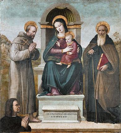 1522 Piccinelli Andrea, Madonna con Bambino in trono tra san Francesco d'Assisi, sant'Antonio Abate e donatore Museo di Arte Sacra, Certaldo