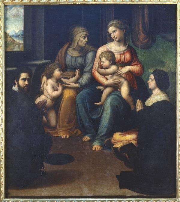 1523-25 Innocenzo Francucci , madonna col bambino, ss. elisabetta, giovannino e i committenti, da s. caterina del corpus dominiPinacoteca Nazionale (Bologna) inverse