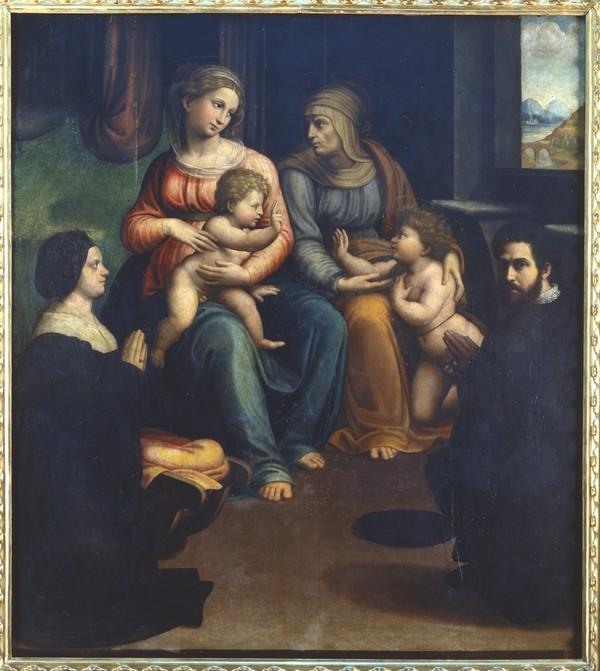1523-25 Innocenzo Francucci , madonna col bambino, ss. elisabetta, giovannino e i committenti, da s. caterina del corpus dominiPinacoteca Nazionale (Bologna)