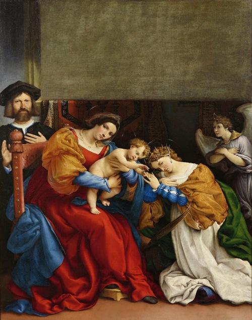 1523, Lorenzo Lotto, Le mariage mystique de sainte Catherine Accademia Carrara, Bergame