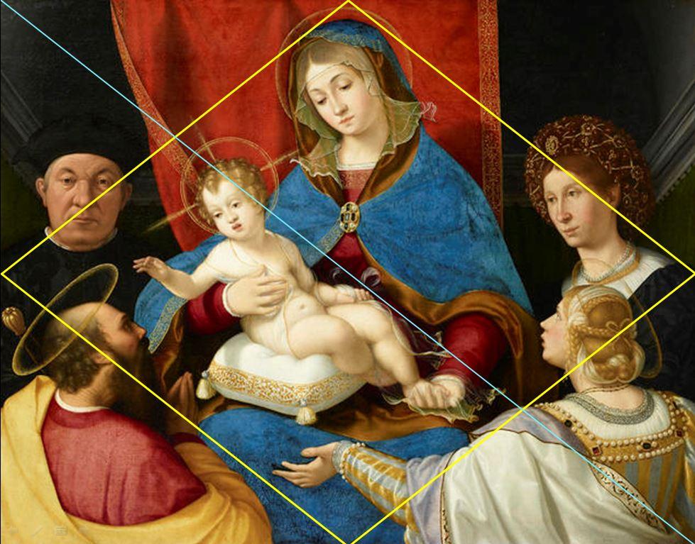 1523 ca Andrea Previtali Madonna col Bambino e i santi Paolo e Agnese con i donatori Paolo e Agnese Cassotti Accademioa Carrara Bergamo schema