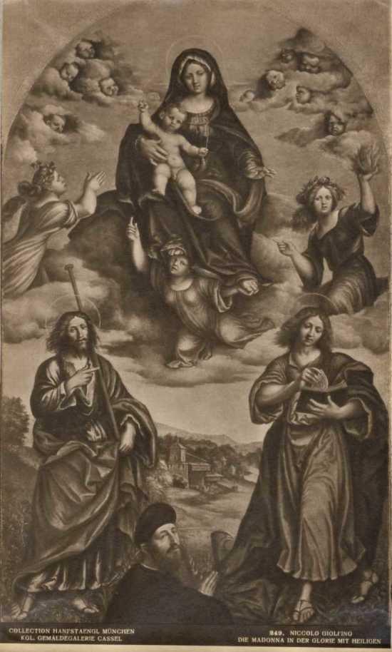 1525-30 Giolfino Nicolo, la Speranza, la Fede, la Carita san Giacomo Maggiore, san Giovanni Evangelista e donatore Gemaldegalerie Berlin