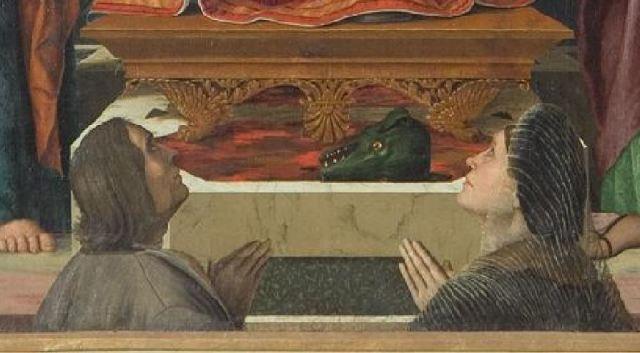 1526 Girolamo Dai Libri Pala Baughi Sant Anna con la Madonna e Gesu Bambino tra San Giuseppe e San Gioacchino e donatori San Paolo Verone detail