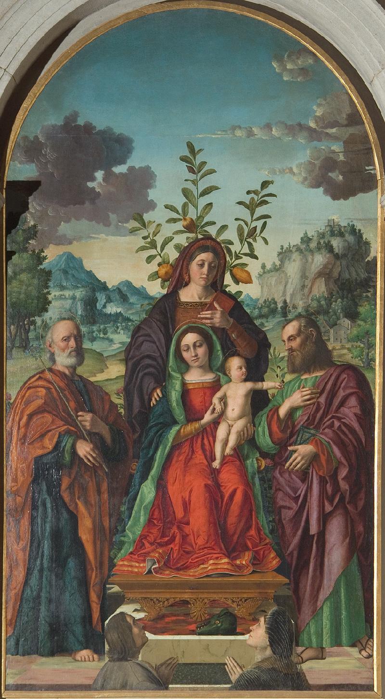 1526 Girolamo Dai Libri Pala Baughi Sant Anna con la Madonna e Gesu Bambino tra San Giuseppe e San Gioacchino e donatori San Paolo Verone