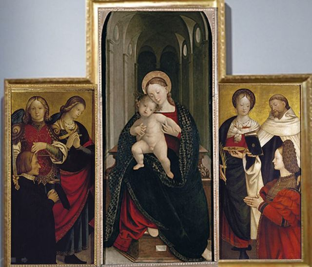 1527 Gerolamo GIOVENONe Madonna and Child with saints and donors Accademia Carrara, Bergame
