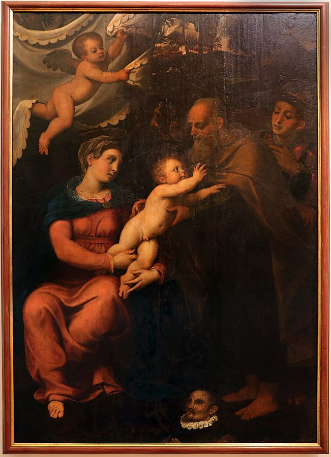 1530-50 Menzocchi Francesco Sacra Famiglia con santo Stefano e donatore Pinacoteca Civica, Forlì chiesa di San Giacomo Apostolo dei Domenicani