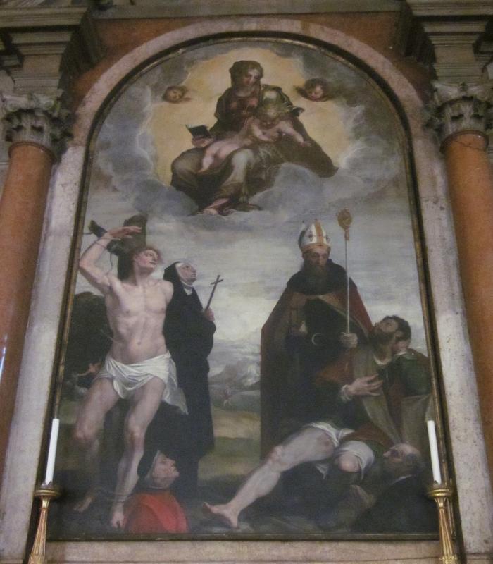 1540-50 Brusasorci Domenico, san Sebastiano, santa Monica, sant'Agostino, san Rocco e due donatori Chiesa di S. Eufemia, Verona