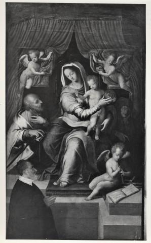 1570-75 Agresti Livio, Madonna con Bambino, san Giuseppe e il committente Andrea Pelucchi Chiesa di S. Maria della Consolazione, Roma