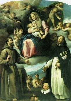 1590-1610 Fabrizio Santafede Madonna delle Grazie S. Francesco Domenico angeli, anime purganti e committente Chiesa di S. Domenico, Ruvo di Puglia