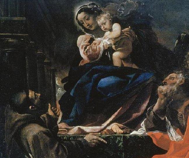 1591 Ludovico Carracci Madonna col Bambino, i santi Giuseppe, Francesco e due committenti (La Carraccina) Cento, Pinacoteca civica detail Saint