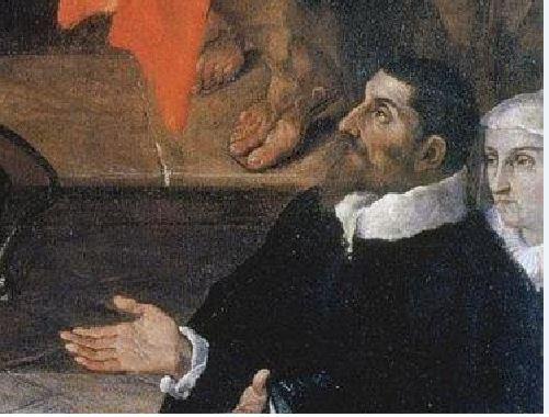 1591 Ludovico Carracci Madonna col Bambino, i santi Giuseppe, Francesco e due committenti (La Carraccina) Cento, Pinacoteca civica detail externe