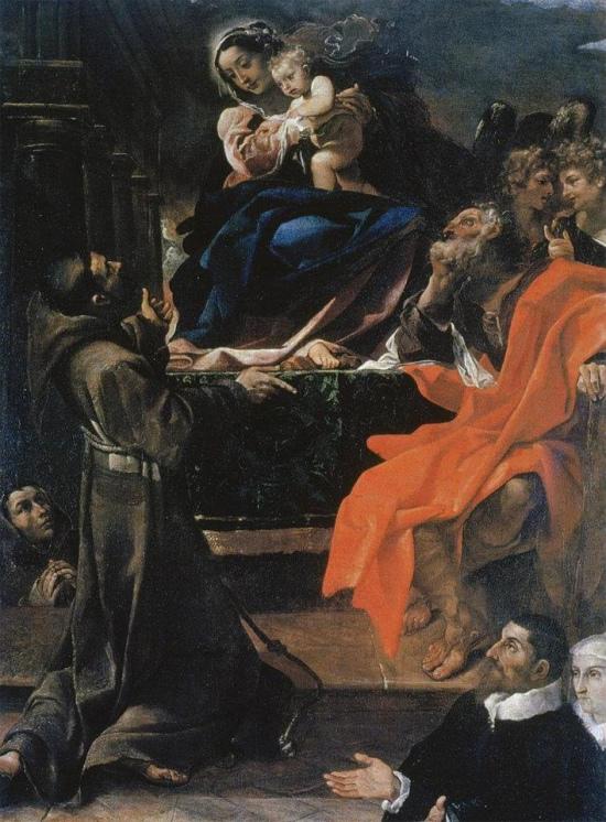 1591 Ludovico Carracci Madonna col Bambino, i santi Giuseppe, Francesco e due committenti (La Carraccina) Cento, Pinacoteca civica