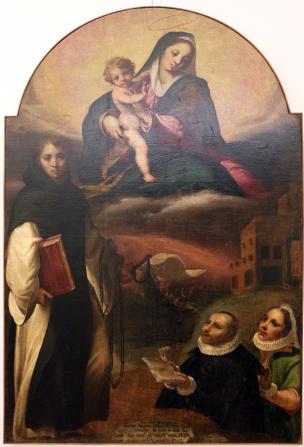 1595 Curia Francesco, Madonna con Bambino in gloria con san Leonard e donatori Chiesa di S. Nicola, Colobraro