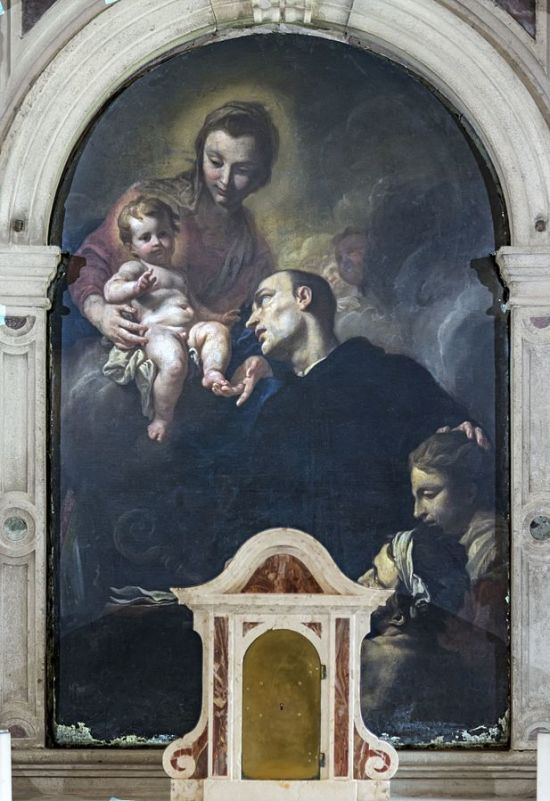 1680-1700 Antonio_Molinari_Madonna_col_Bambino_e_san_Mauro_abate_-_ Madonna_dell'Orto_(Venice)_-_Chapel_St_Mauro_
