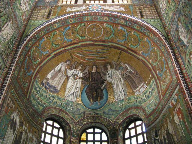 526-547 Christ entre Saint Vital et l'eveque Ecclesisus San_Vitale, Ravenna