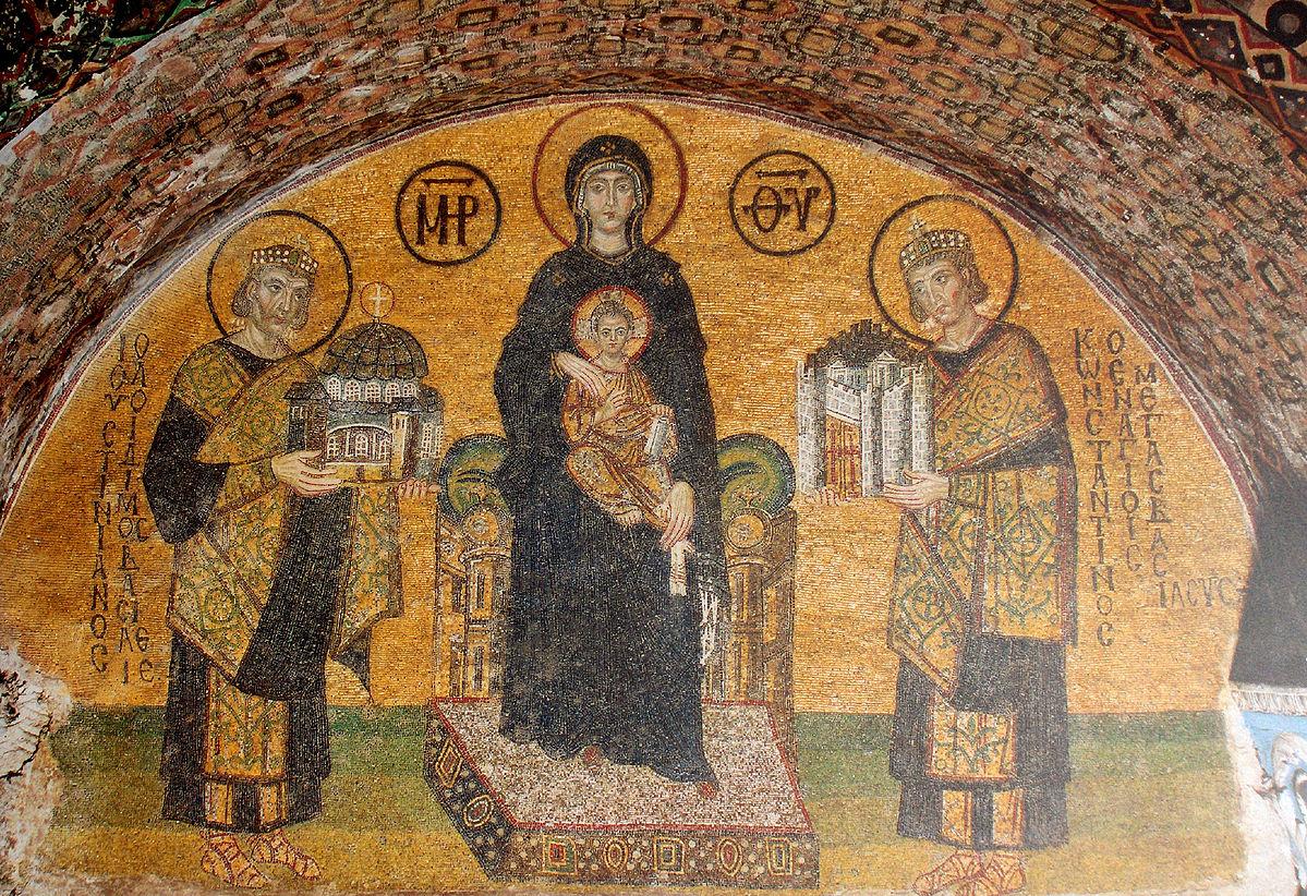 986-1017 Vierge et l'Enfant entre Justinien et Constantin Lunette du vestibule Sainte Sophie istambul