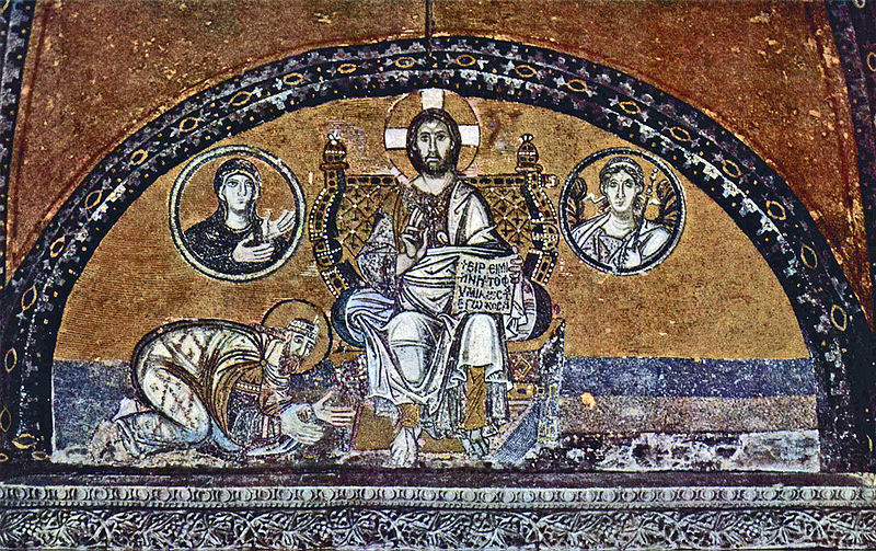 Byzantinischer_Mosaizist_des_9._Jahrhunderts Christus Pantokrator und Kaiser Leon VI Sainte Sophie