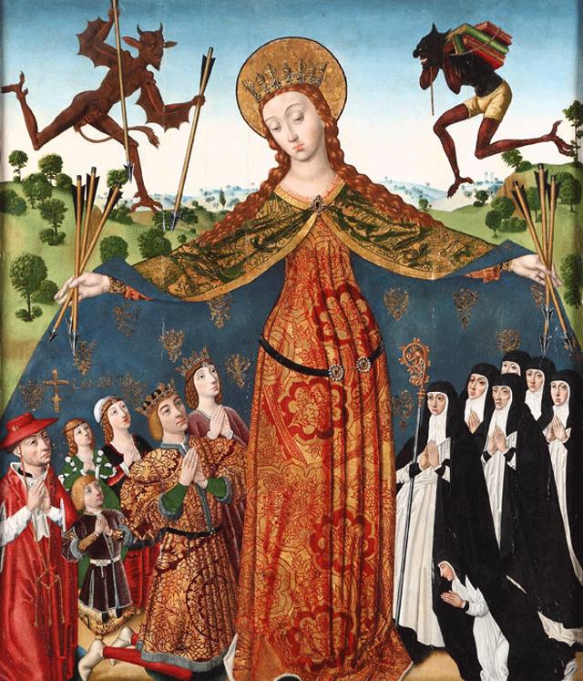 Diego_de_la_Cruz,_La_Virgen_de_la_Misericordia_con_los_Reyes_Católicos_y_su_familia. 1485 ca Monasterio_de_las_Huelgas,_Burgos