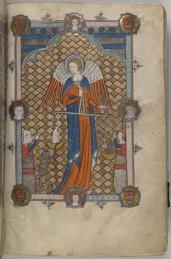 Hawisa de Bois et Saint Michel Book of Hours Oxford, vers 1325-1330, Morgan Library MS M.700 fol 2r