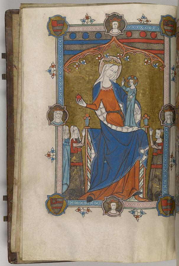 Hawisa de Bois et la Vierge, Book of Hours Oxford, vers 1325-1330, Morgan Library MS M.700 fol 3v