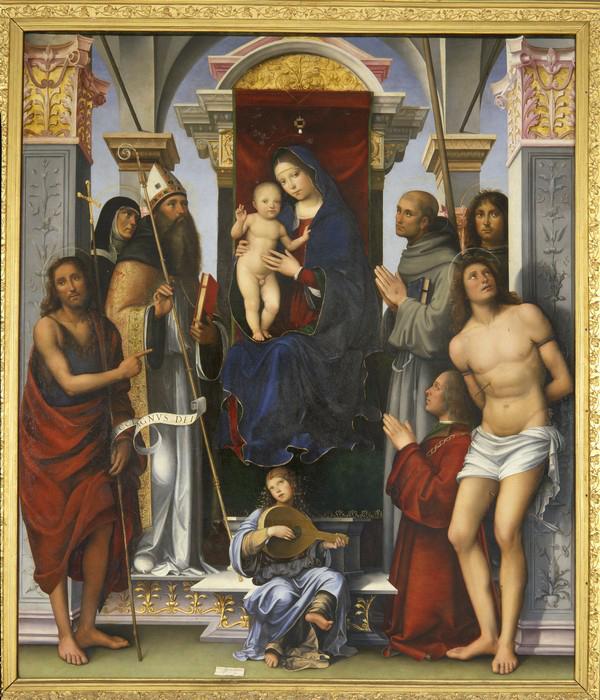 SVDS 1490 Raibolini Francesco Agostino, Francesco, Procolo, Monica, Giovanni Battista, Sebast,Pala Felicini Pinac Nazionale, Bologna
