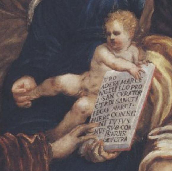 Tintoretto, Sacra Famiglia con il procuratore Girolamo Marcello che giura nelle mani di san Marco detail
