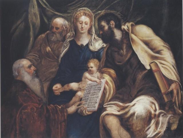 Tintoretto, Sacra Famiglia con il procuratore Girolamo Marcello che giura nelle mani di san Marco