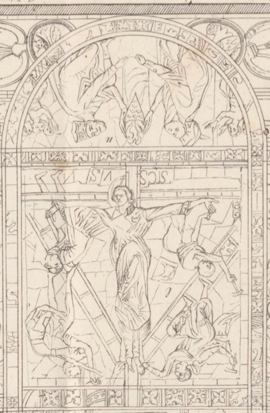 vitrail de la Crucifixion Abbe Auber Histoire de la cathedrale de Poitiers 1848 vol I planche X