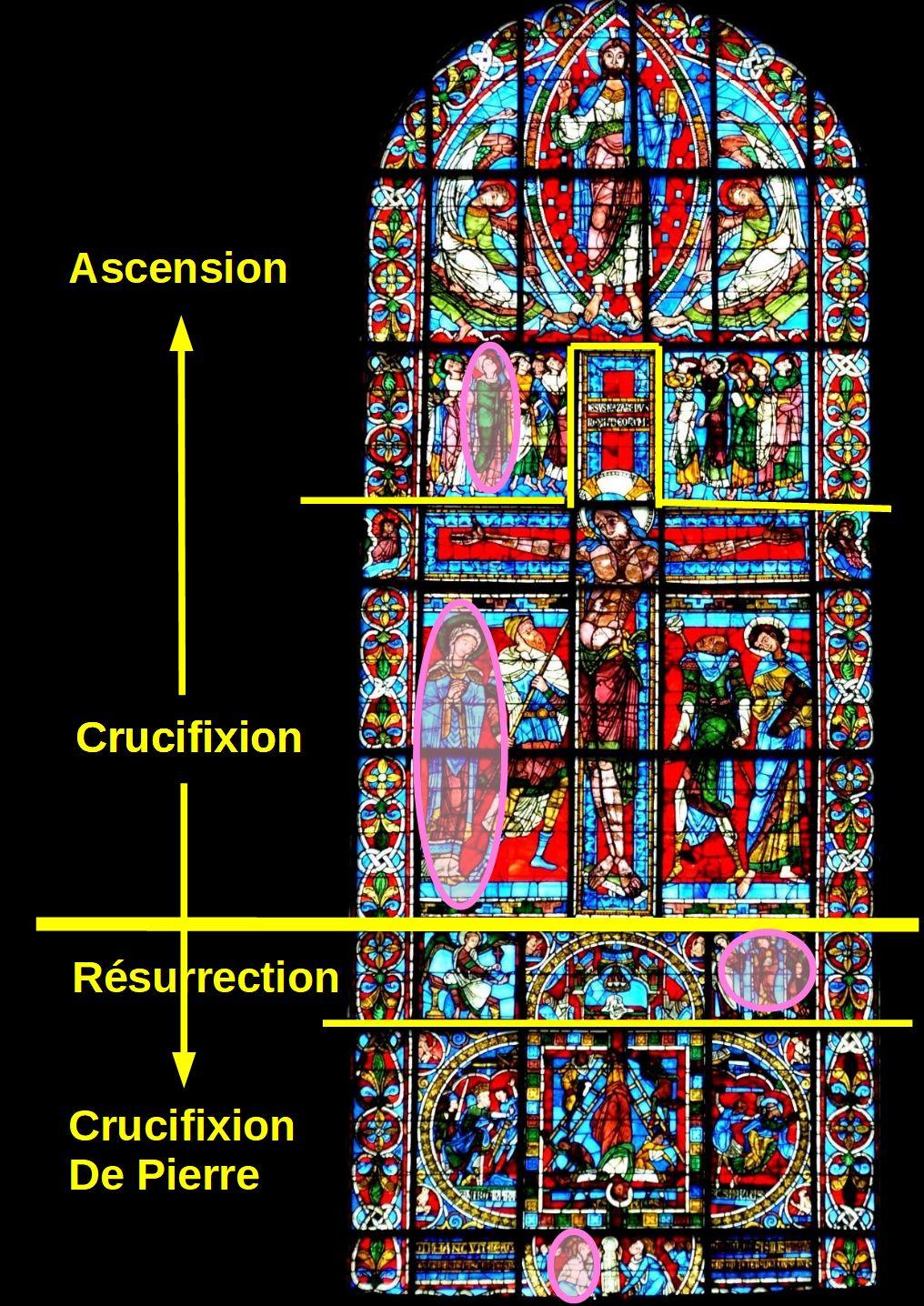 vitrail de la Crucifixion Cathedrale de Poitiers Resurerrection schema