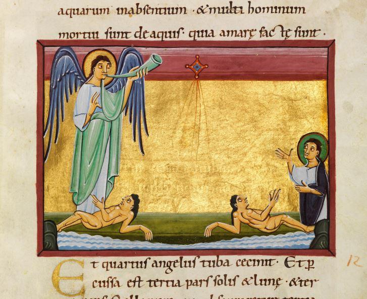 1000-20 Apocalypse de Bamberg Msc. Bibl. 140 fol 21r La troisieme trompette