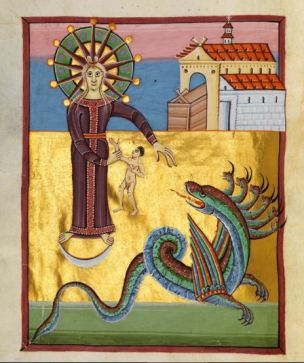 1000-20 Apocalypse de Bamberg Msc. Bibl. 140 fol 29V La Femme et le Dragon