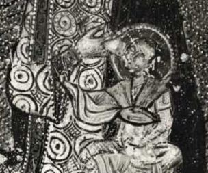 1175 - 1224 San Michele Arcangelo e donatori, Madonna e donatore Museo Nazionale d'Abruzzo, L'Aquila detail
