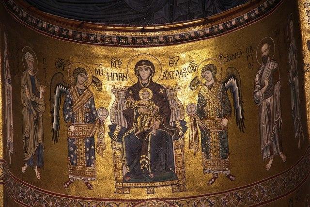 1200 ca Vierge entre les archanges Michel et Gabriel Abside de la cathedrale de Monreale