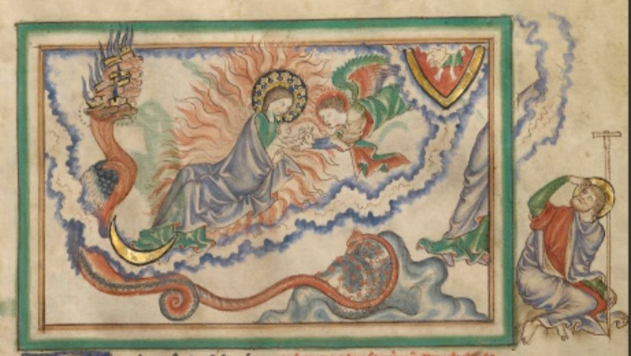 1255-60 Anglais getty museum Ms. Ludwig III 1 (83.MC.72) fol 20r The Woman Clothed in the Sun