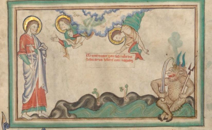1255-60 Anglais getty museum Ms. Ludwig III 1 (83.MC.72) fol 21 Le Demon de la Terre