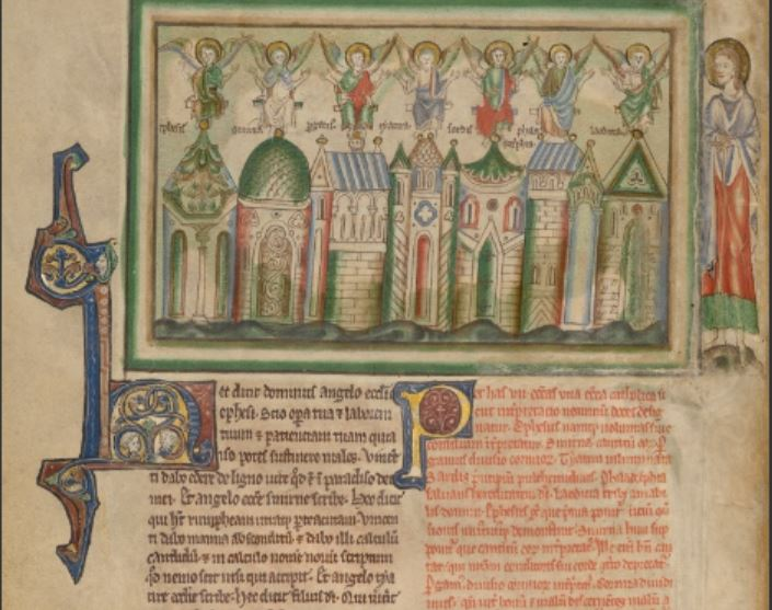 1255-60 Anglais getty museum Ms. Ludwig III 1 (83.MC.72) fol 2v sept eglises d'Orient