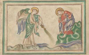 1255-60 Anglais getty museum Ms. Ludwig III 1 (83.MC.72), fol 34v Le dessechement de l'Euphrate (debut de la sixieme coupe)jpg