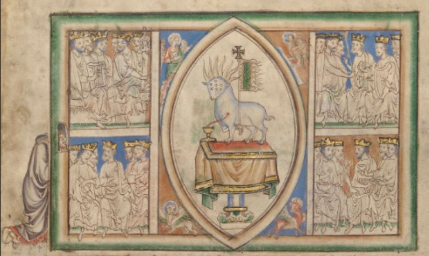 1255-60 Anglais getty museum Ms. Ludwig III 1 (83.MC.72) fol 5 The Vision of the Lamb
