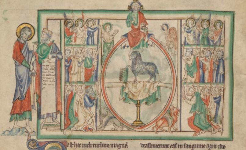 1255-60 Anglais getty museum Ms. Ludwig III 1 (83.MC.72) fol 9v L'adoration de l'Agneau et du Seigneur