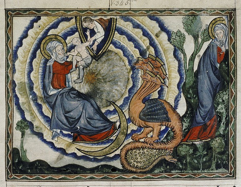 1265-70 Douce_Apocalypse_-_Bodleian_Ms180_-_p.043_Woman_and_the_dragon