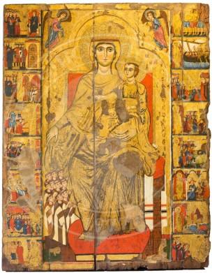 1280 Ca Madonne avec des moines carmelites Byzantine museum,Nicosie