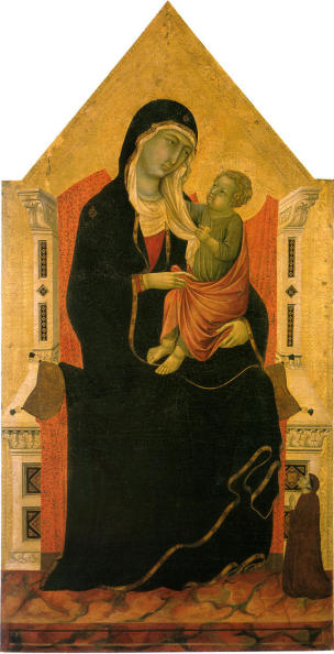 1280 ca Ugolino di Nerio The-Madonna-and-Child-with-a-Donor-Chiesa della Misericordia - San Casciano in Val di Pesa